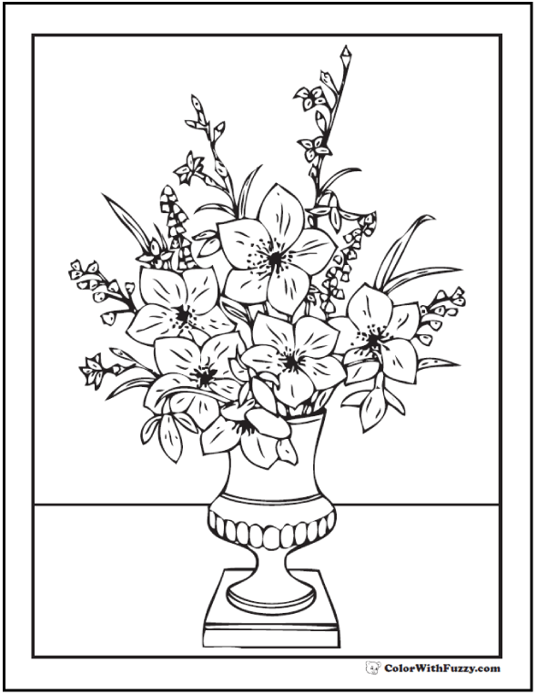 Printable Flower Bouquet Adult Coloring Page Vase On Table