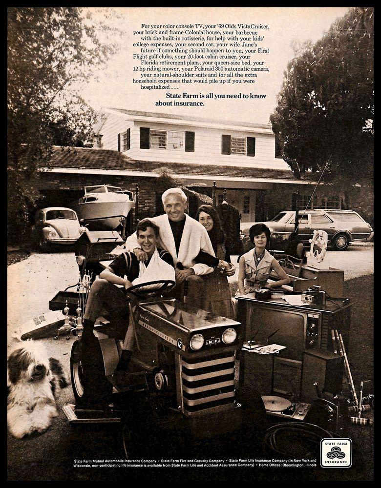 1970 Statefarm Insurance Vintage Print Ad Family Tractor