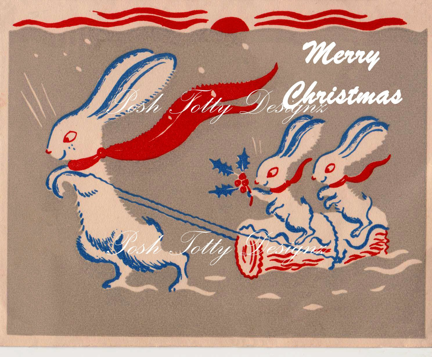 Bunnies In The Snow Christmas Art Deco 1930s Vintage Greetings Card Digital Download Images (290)