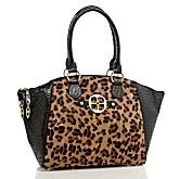 #HSN #FALL Fashion - IMAN Platinum Croco-Embossed Luxe Leather & Ponyhair Satchel