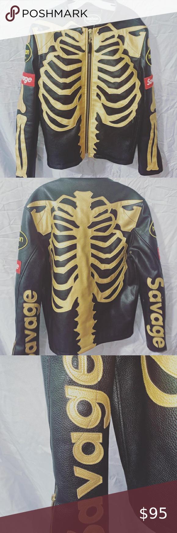 Hudson Leather Skeleton Jacket Size Small Black And Gold Jacket Gold Jacket Leather [ 1740 x 580 Pixel ]