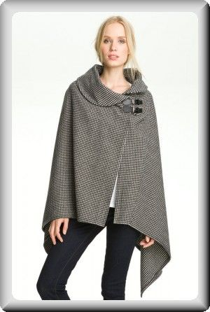 Ralph Lauren Women's Black and Brown Camel Buckle Cape Wrap Poncho