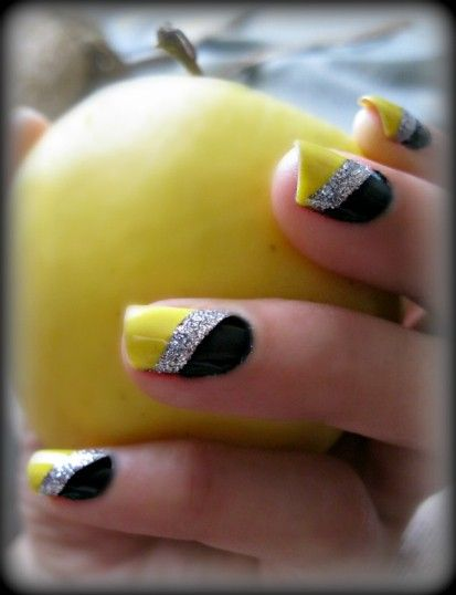 Yellow, silver glitter, black stripe nails. - DIY NAIL ART DESIGNS - Reducing Acne Scars Nail Art Pinterest Silver Glitter And Black
