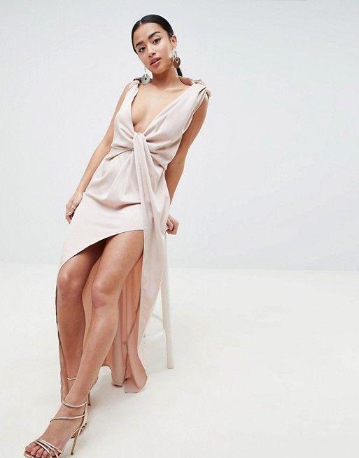95df7c743b DESIGN Petite Drape Satin Maxi Dress | dress well | Dresses, Asos ...