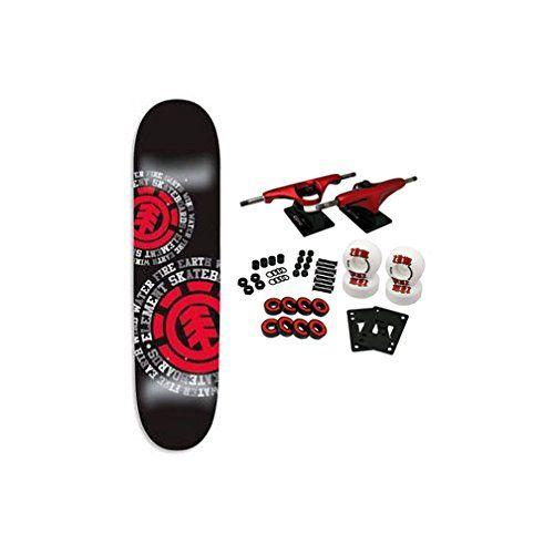 """Element Skateboard Complet Section 7.75/"""" élément Roulettes Noir camions"""