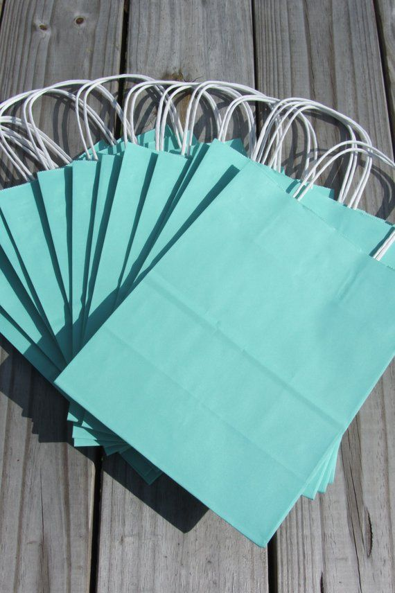 20 Pack Turquoise Gift Bags With Handle 8x4x10