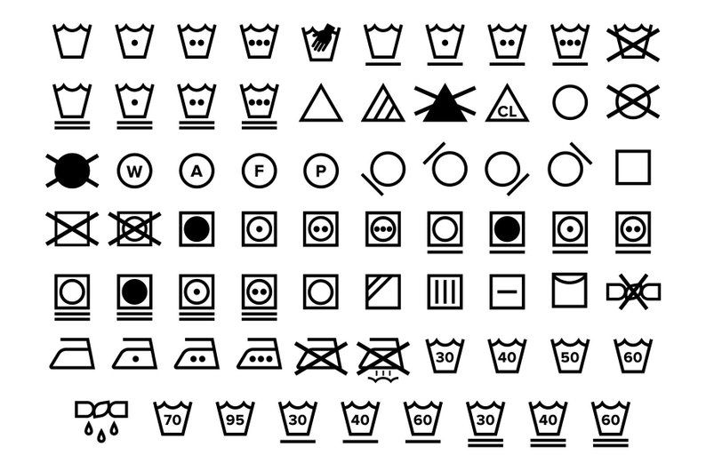 Laundry Care Symbol Icons Set Png Svg Vector Transparent Black And White Textile Instruction Label Clip Art Digital Icons Commercial Use Care Symbol Laundry Care Symbols Laundry Care