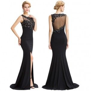 9fbf8adb968 Superbe robe longue idéale pour soirée de Gala. Robe noire forme sirène  cintrée à la taille avec fente. Bustier et dos drapés de tulle et de  dentelle ...