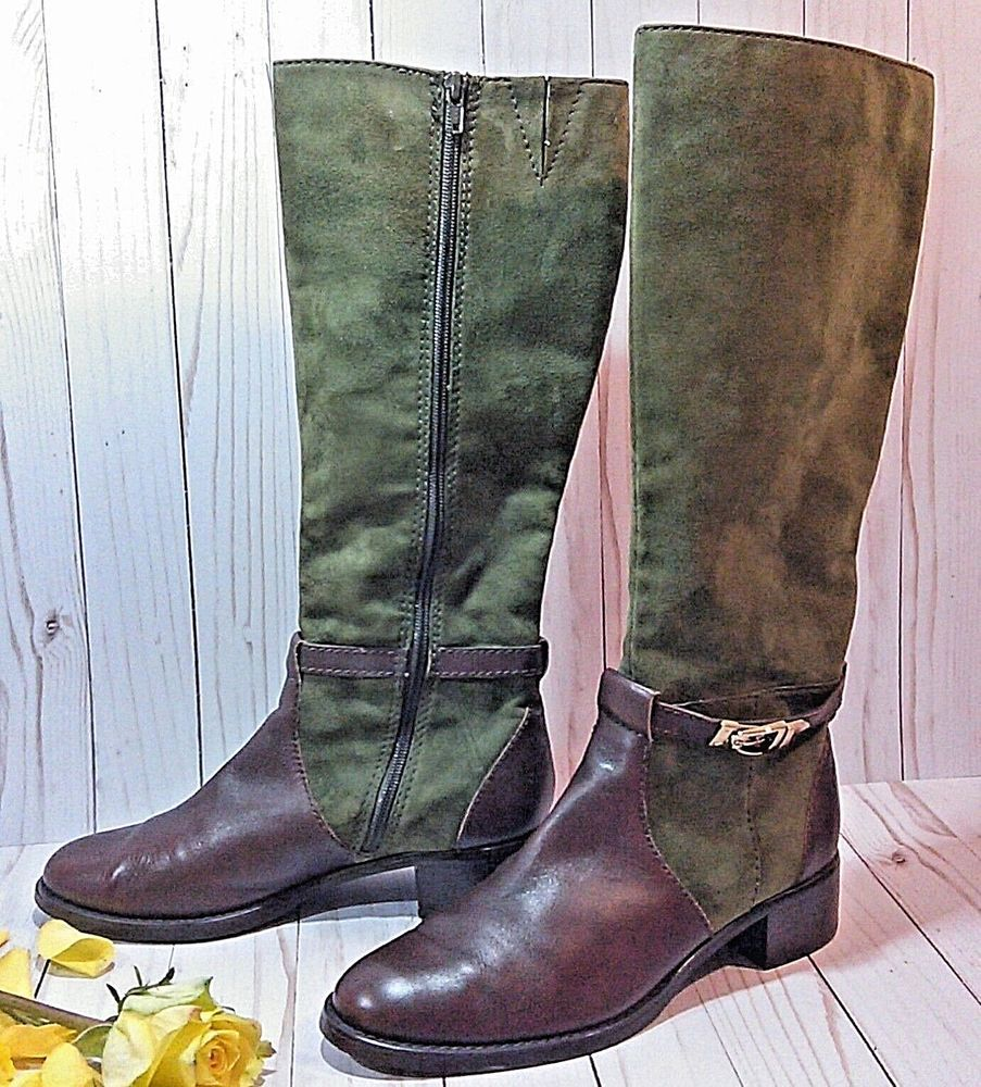 ba62c501e0 E-Venezia Etienne Aigner 8 1 2 M Tall Riding Boots Suede Green and Brown   EtienneAigner  RidingBoots  CasualDressOutdoor