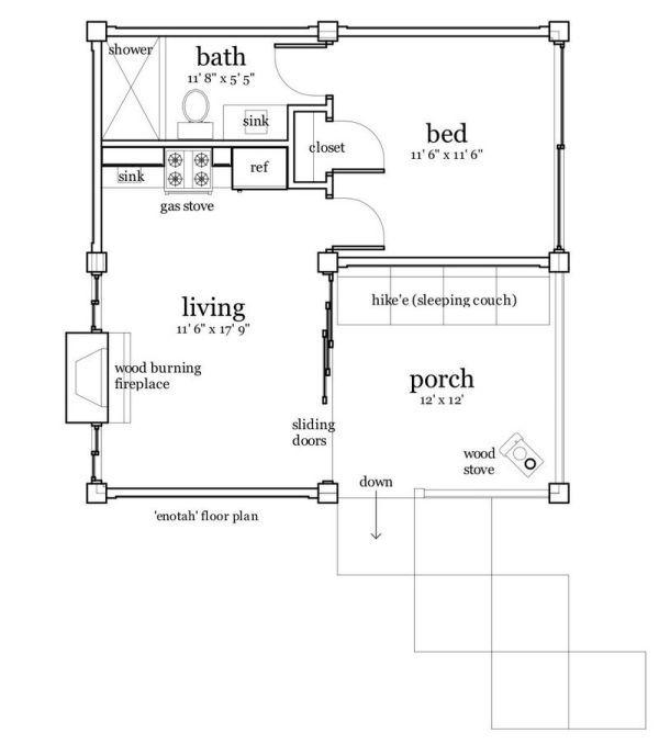 Casa elevada de 42 m2 1 dorm 1 ba o sala de estar for Planos de cocina y sala