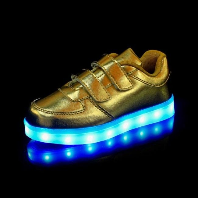 Golden Classic LED Light Up Shoes With Velcro for Kids