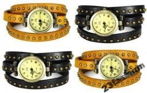 Zegarek Damski Jq Cwieki Skora Naturalna Japan New Girl Bracelets Studded Leather Leather Wraps