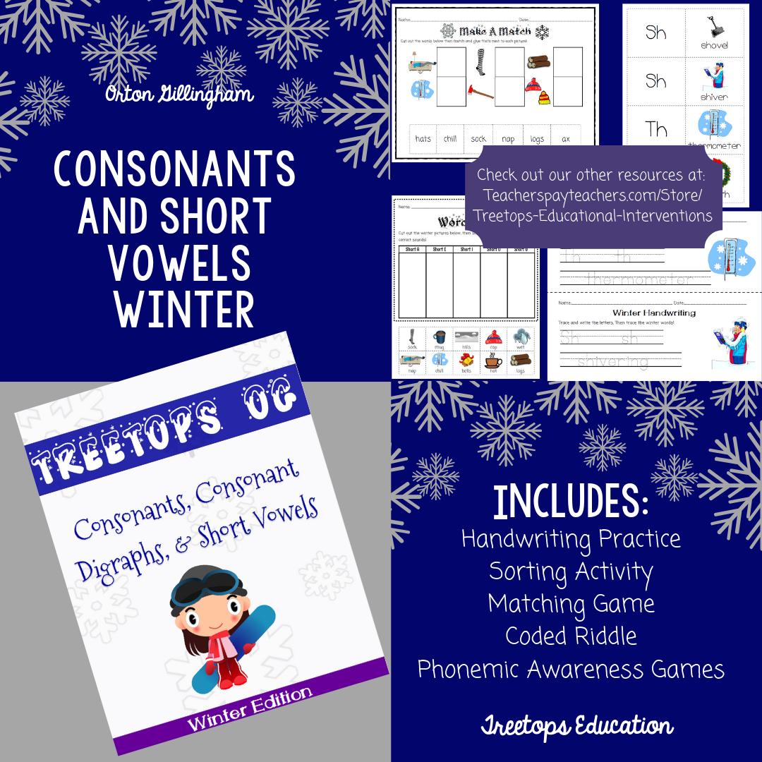 Orton Gillingham Winter Unit Consonants And Short Vowels