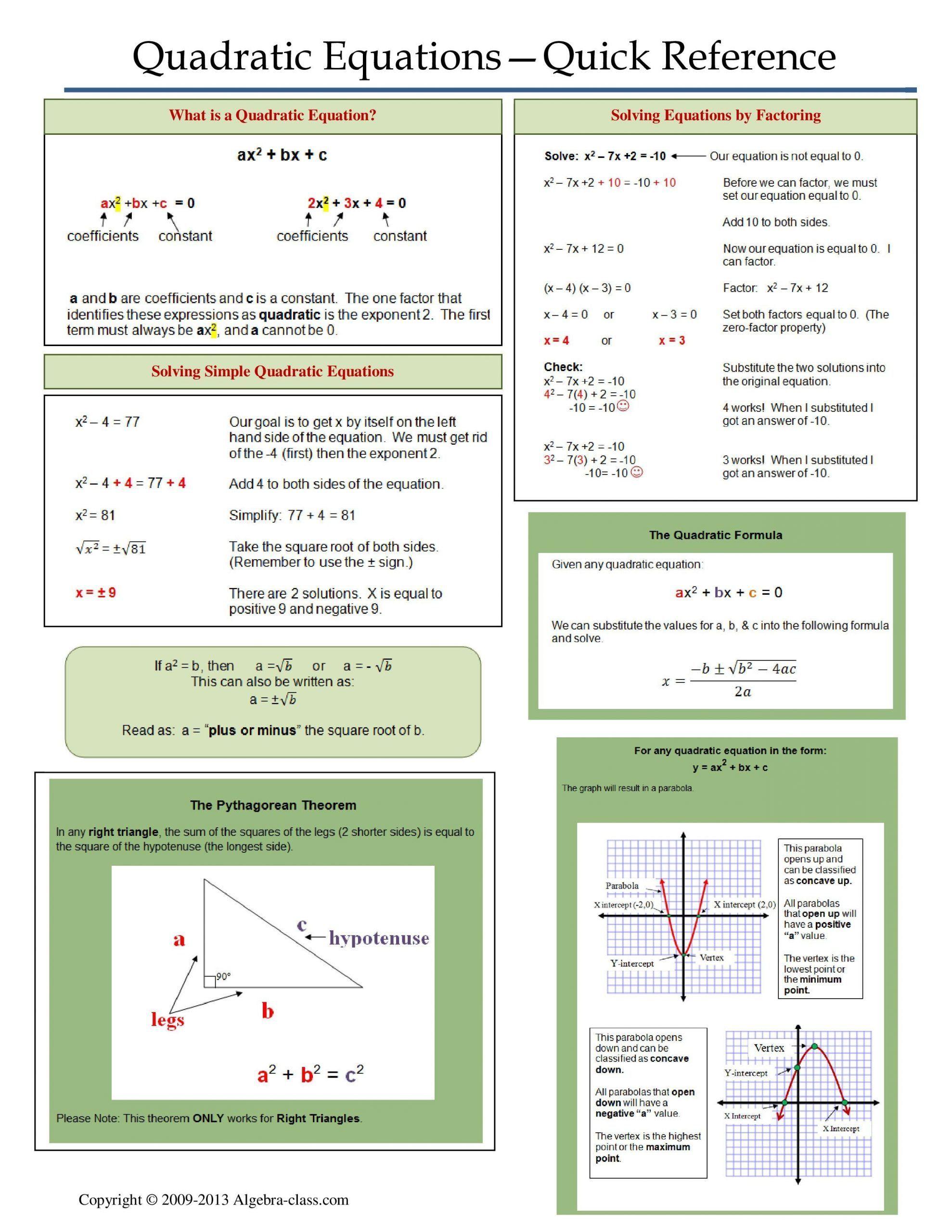 Quadratic Functions Worksheet With Answers E Page Notes Worksheet For Quadratic Equations Unit In 2020 Quadratics College Algebra College Math