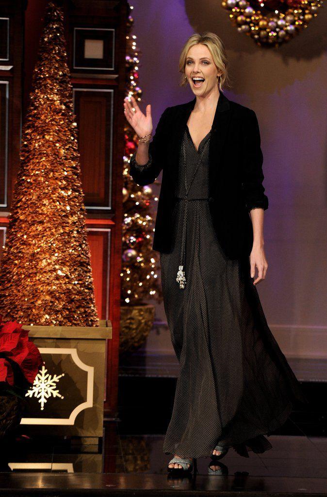 One way to dress up a maxi-dress? Top it off with a blazer á la Charlize's Dior dress and blazer combo.