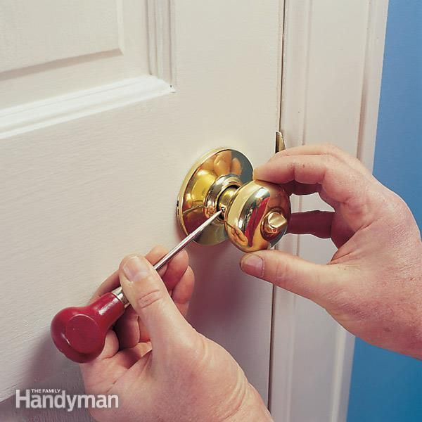 tighten a loose doorknob that has hidden chassis screws. it only takes a minute to pop off the cover plate.