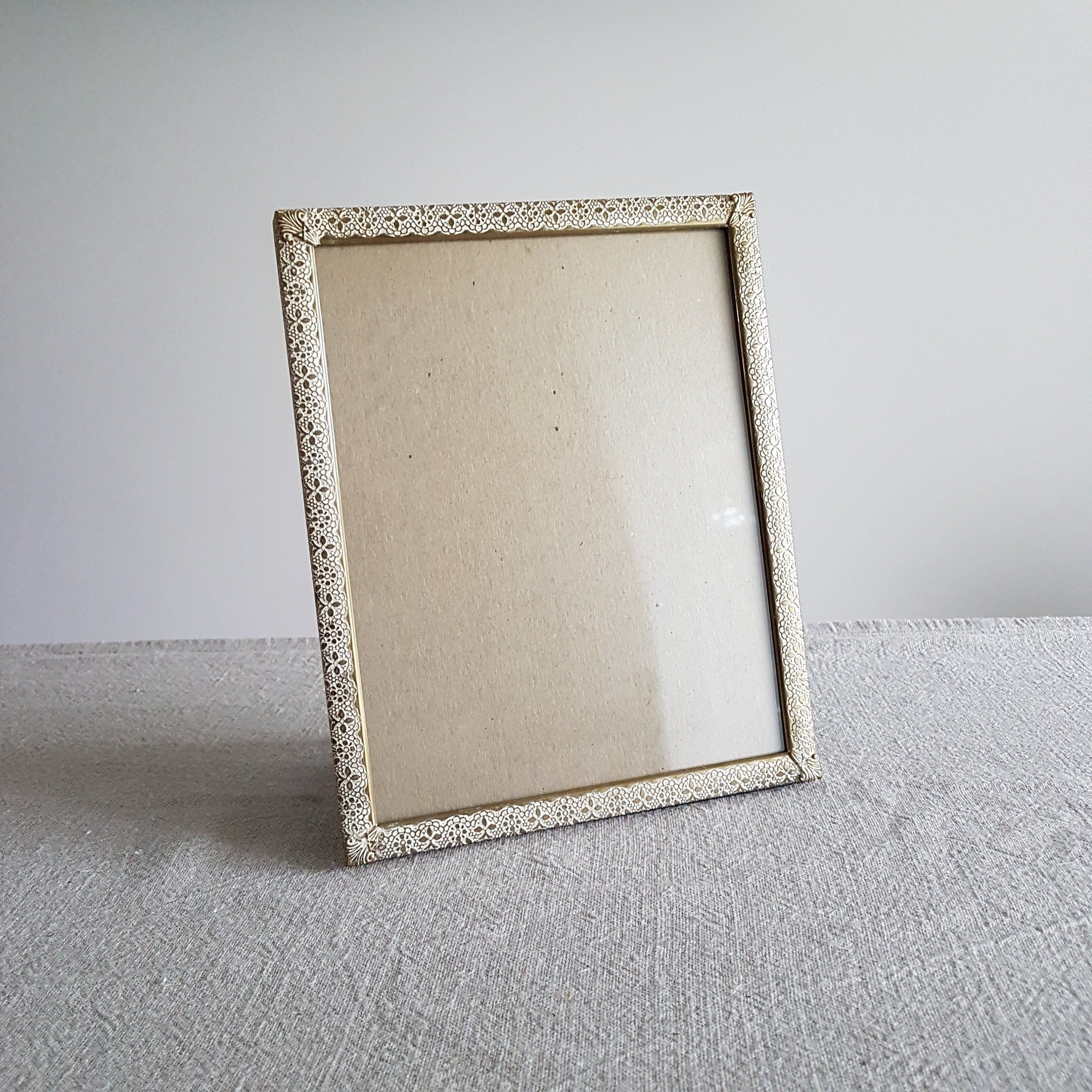 8 X 10 Gold Metal Picture Frame With Lace Design White Washed Look Gold Photo Frame W White Paint Accents Wedding S Metal Picture Frames Gold Photo Frames Frame