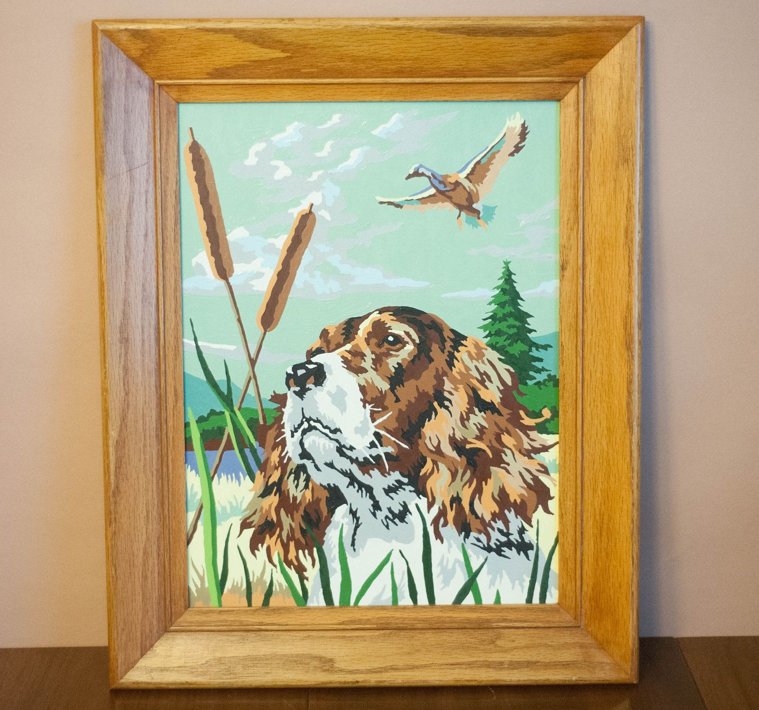 Vintage Framed Paint By Number Painting Hunting Dog Bird Mid