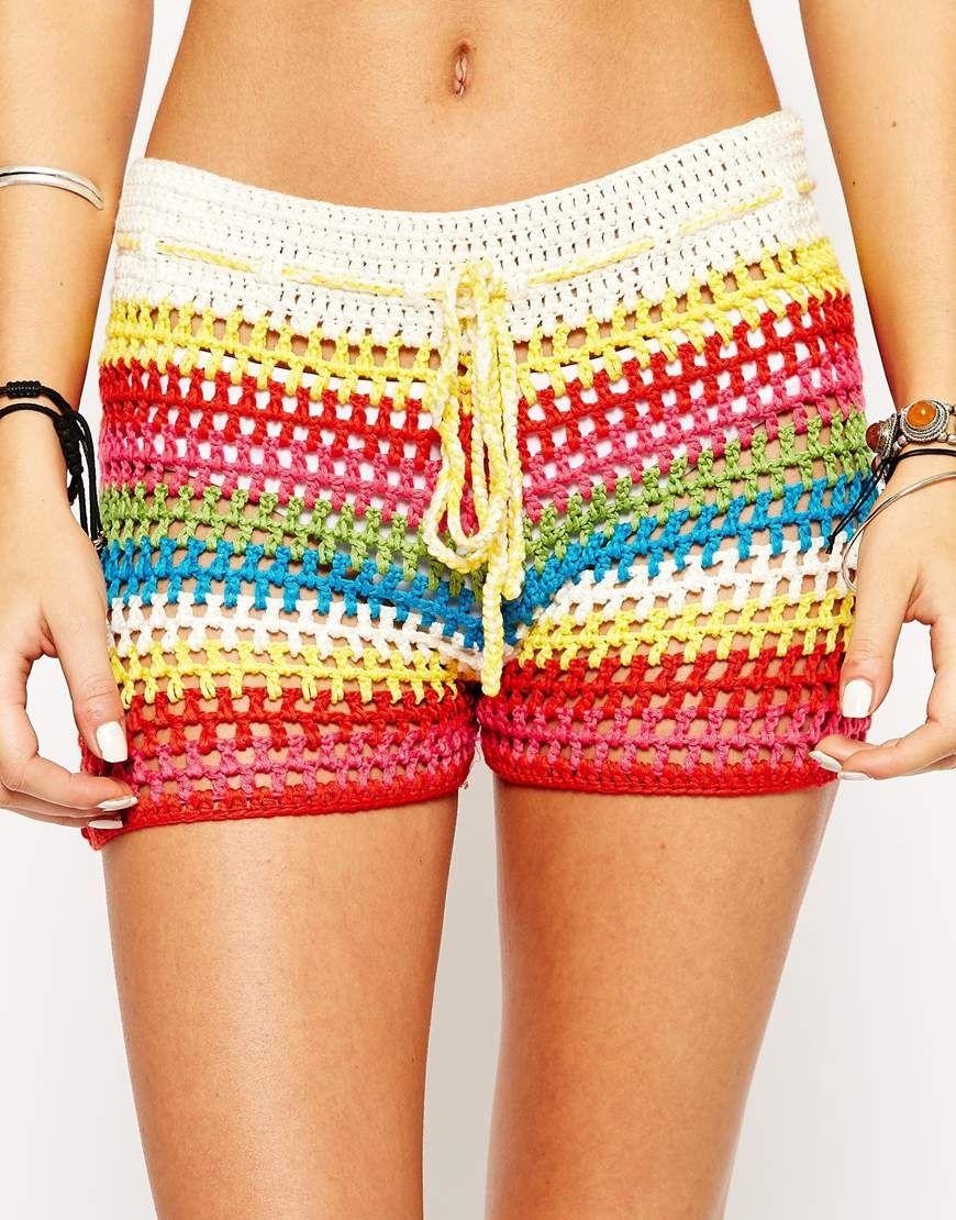 Image 3 of Glamorous Petite Stripe Crochet Shorts | Crochet ...