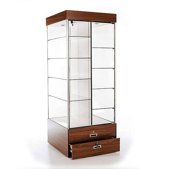 Double Sided Glass Display Tower Display Case Display Tower Storage
