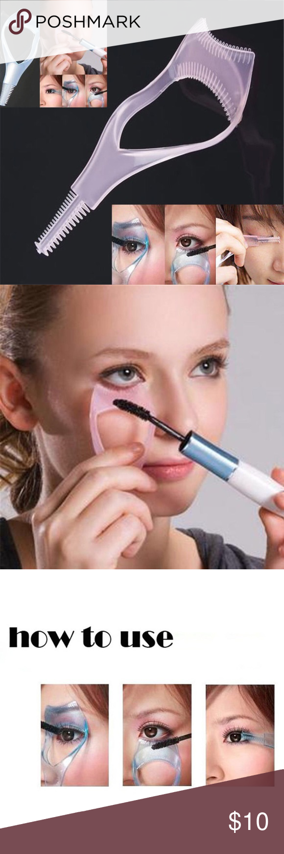 9f31b7417ba Eyelash tool 3 in 1 Makeup Mascara shield Guard Eyelash tool 3 in 1 Makeup Mascara  shield Guard Curler Applicator comb Guide New in package Light Blue last ...