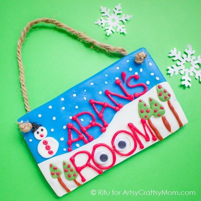 Winter Themed Kid Made Clay Nameplate Easy Craft Ideas For Kids