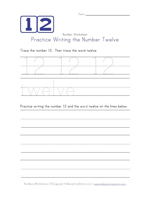 Writing Number Twelve 12   children\'s worksheets   Pinterest ...