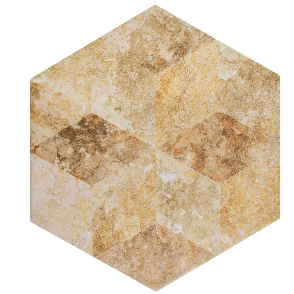 Merola Tile Stone Hex Cream Decor 8-5/8 in. x 9-7/8 in. Porcelain ...