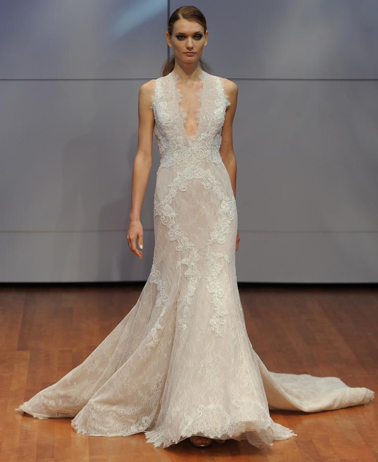 Rivini Lace Mermaid Wedding Dress With Deep V Neckline And Dramatic Train From Fall 2016