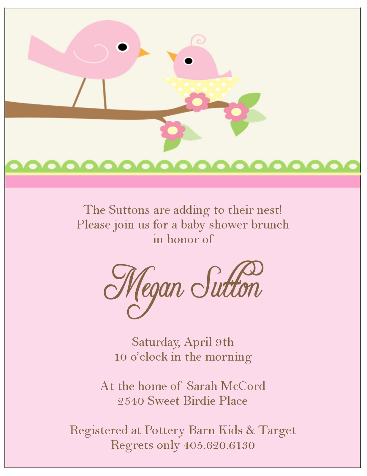 Baby Shower Invitations - The Sweet Peach Paperie Little Birdie