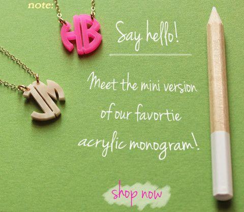 Mini Monogram Necklace - Block Font  {30 Acrylic Color Options}