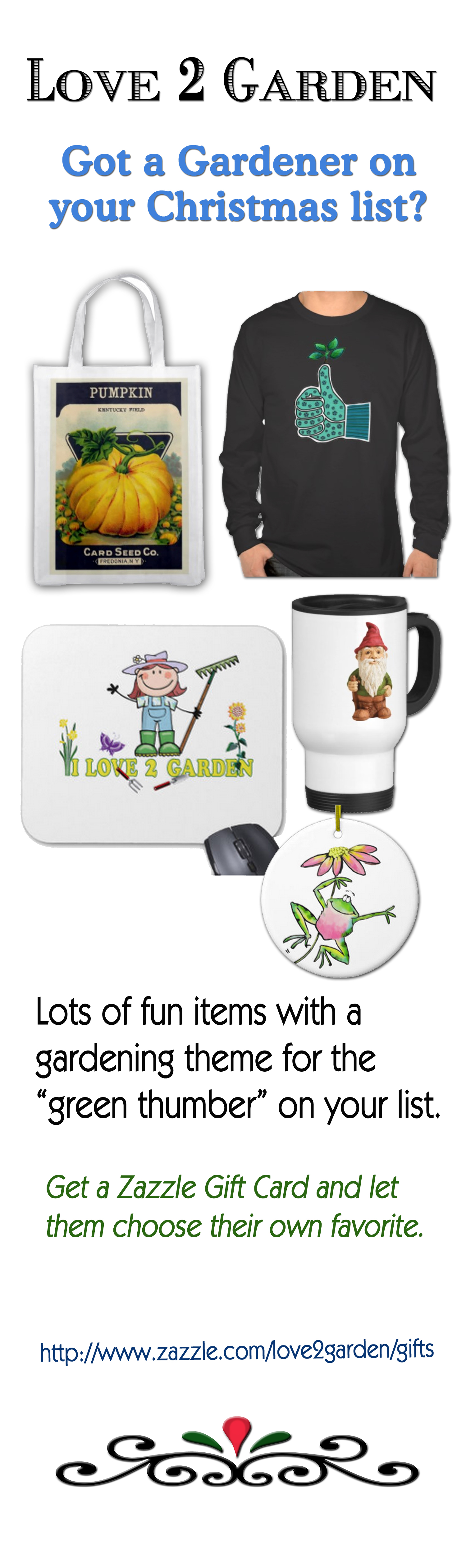 How about some gift ideas from a shop with all kinds of fun garden themed items with creative images.