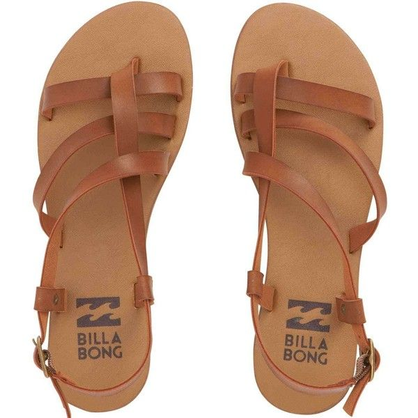 Billabong Womens Tan Linez Sandals 45 liked on Polyvore featuring shoes sandals