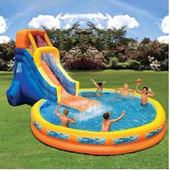 Outdoor Inflatable Play Fun Pool Polyester With PVC Layer Banzai Water Slide  #Banzai