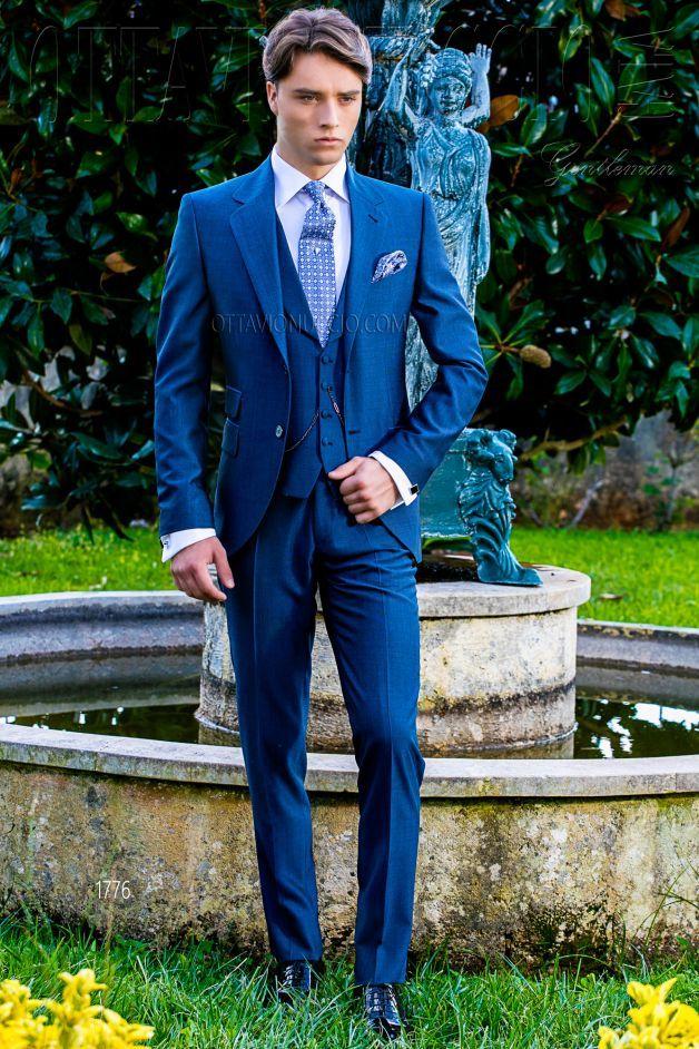 Vestiti Eleganti In Inglese.Ongala 1776 Vestito Sposo Uomo Blu Elettrico Tre Pezzi