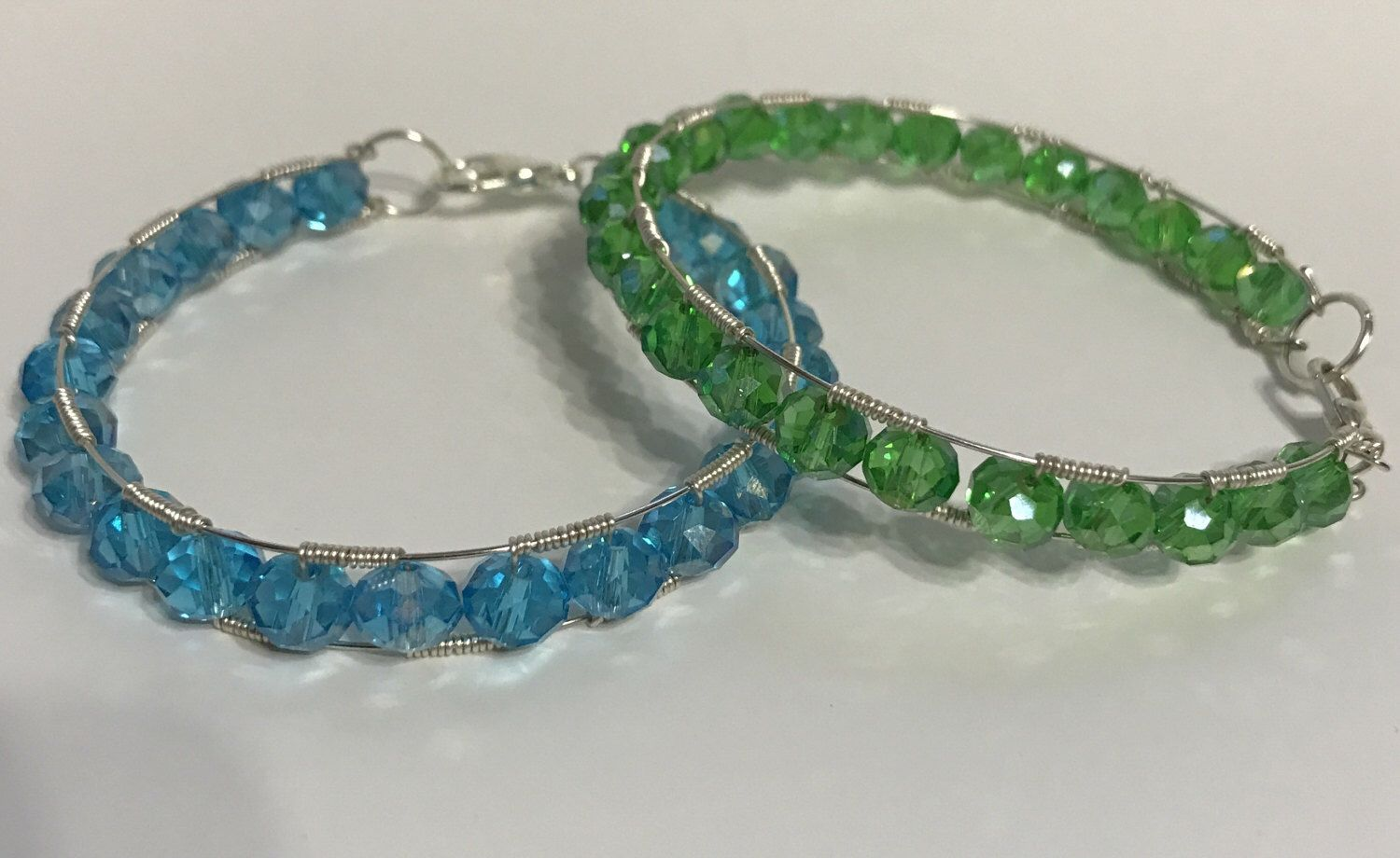 Stackable crystal bead wire wrapped memory wire bracelet. by ...