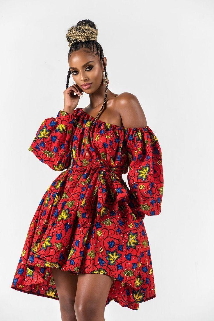 Ankara Dress by JAD. One shoulder, one sleeve. Short length Gown.