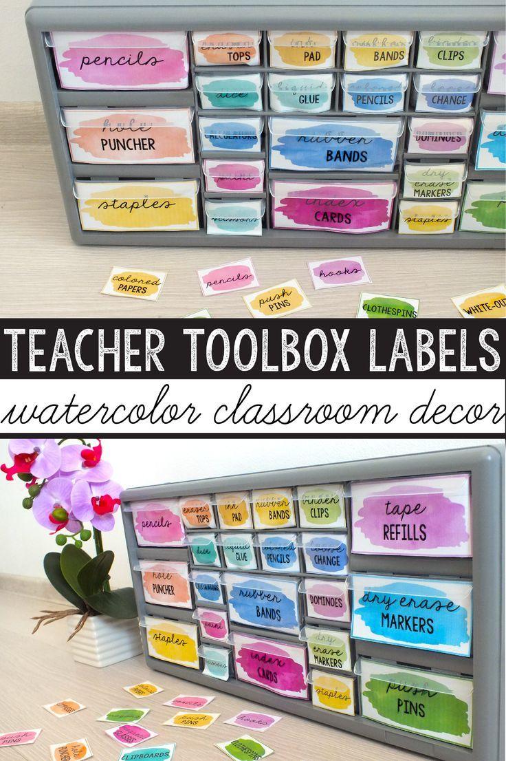 Teacher Toolbox Labels Editable Watercolor Classroom Decor