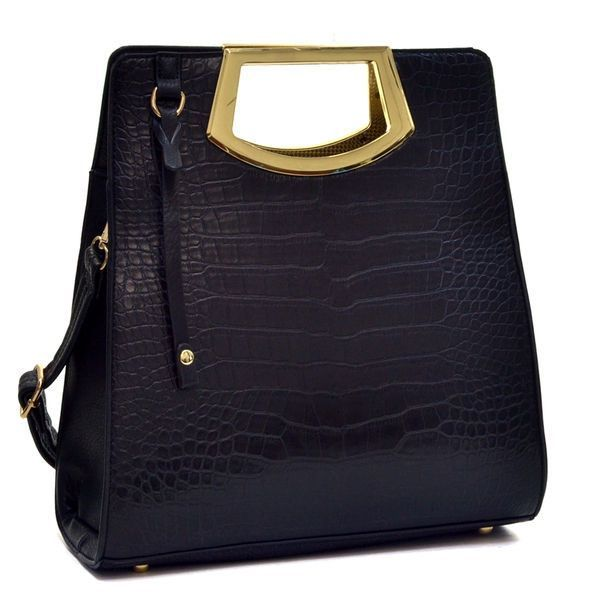 Dasein Tall Structured Croco Embossed Tote