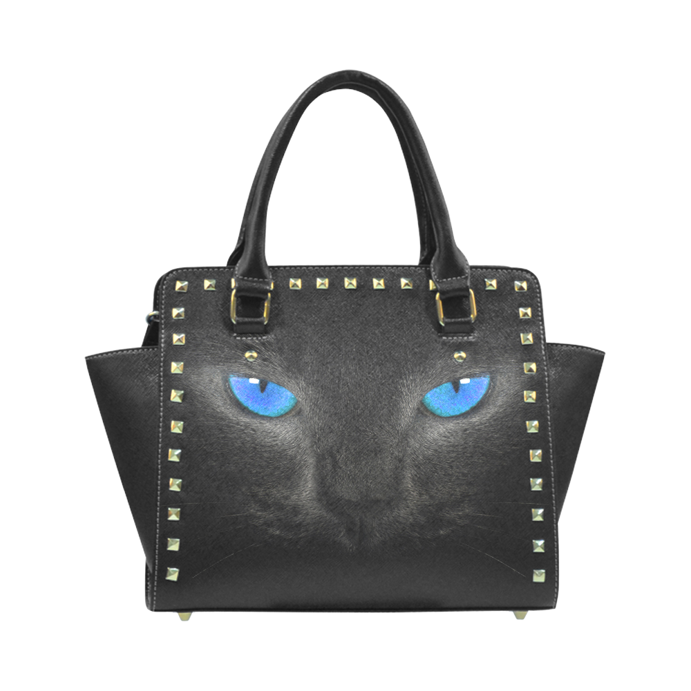 Evergreen Black Cat with Blue Eyes Rivet Shoulder Handbag. (Model 1645) May  purchase for a gift for someone. 2166ce255a288