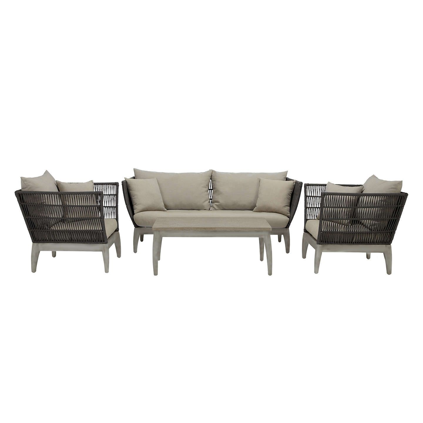 John Lewis Ariel 3 Seater Garden Sofa Coffee Table And Lounging Armchair Pair 3 Seater Sofa Outdoor Seat Cushions Sofa