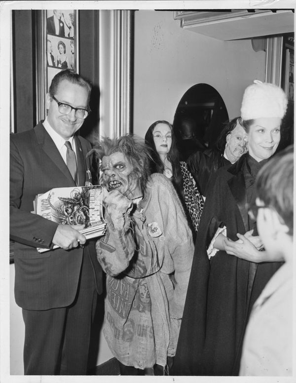 Forrest J Ackerman, Carroll Borland and Maila Nurmi (Vampira) at the premiere of The Tomb Of Ligeia (1964).