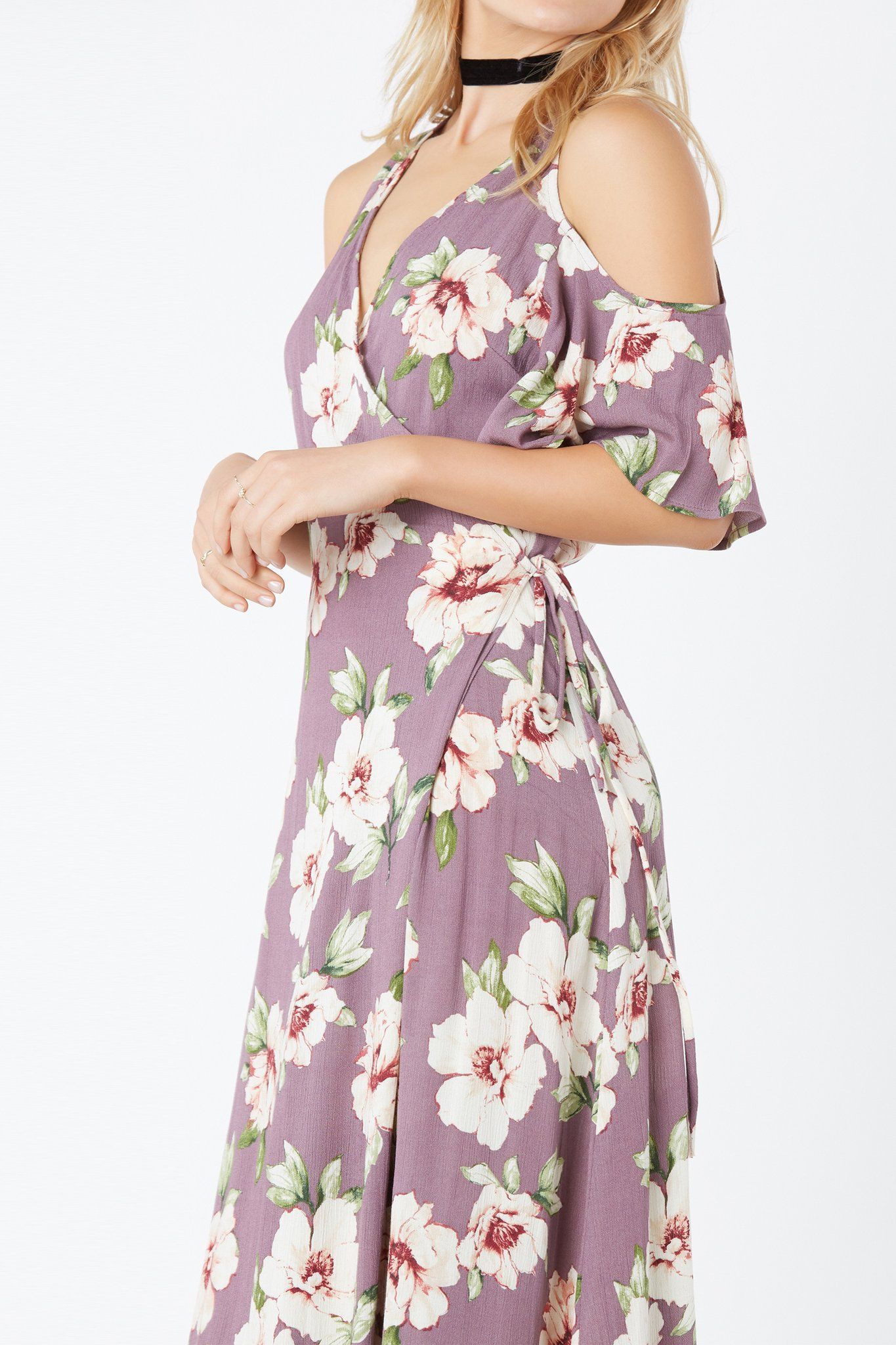 Flower print wedding gown  Flowy cold shoulder maxi dress with deep Vneckline and wrap front