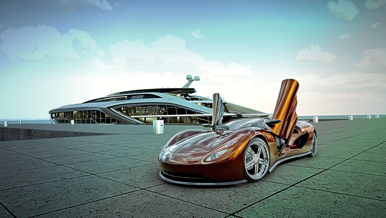 The Motorist Gray Design Fairwei Mega Yacht Next Generation Superyacht Luxury Yachts Fast Sports Cars Explorer Yacht