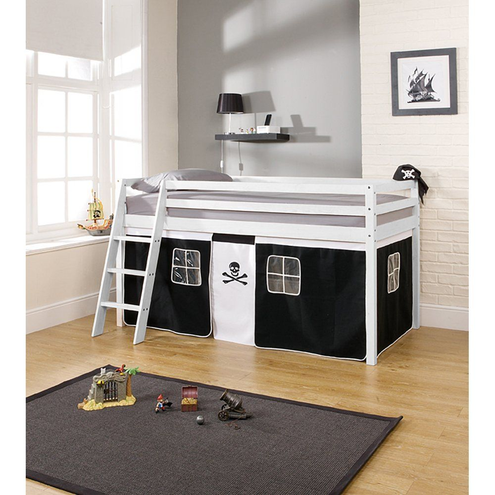 Noa u0026 Nani - Pirate Cabin Bed with Tent. Solid pine mid sleeper with pirate tent. & Pirates Cabin Bed with Ladder and Tent in Pirate Design | leo ...