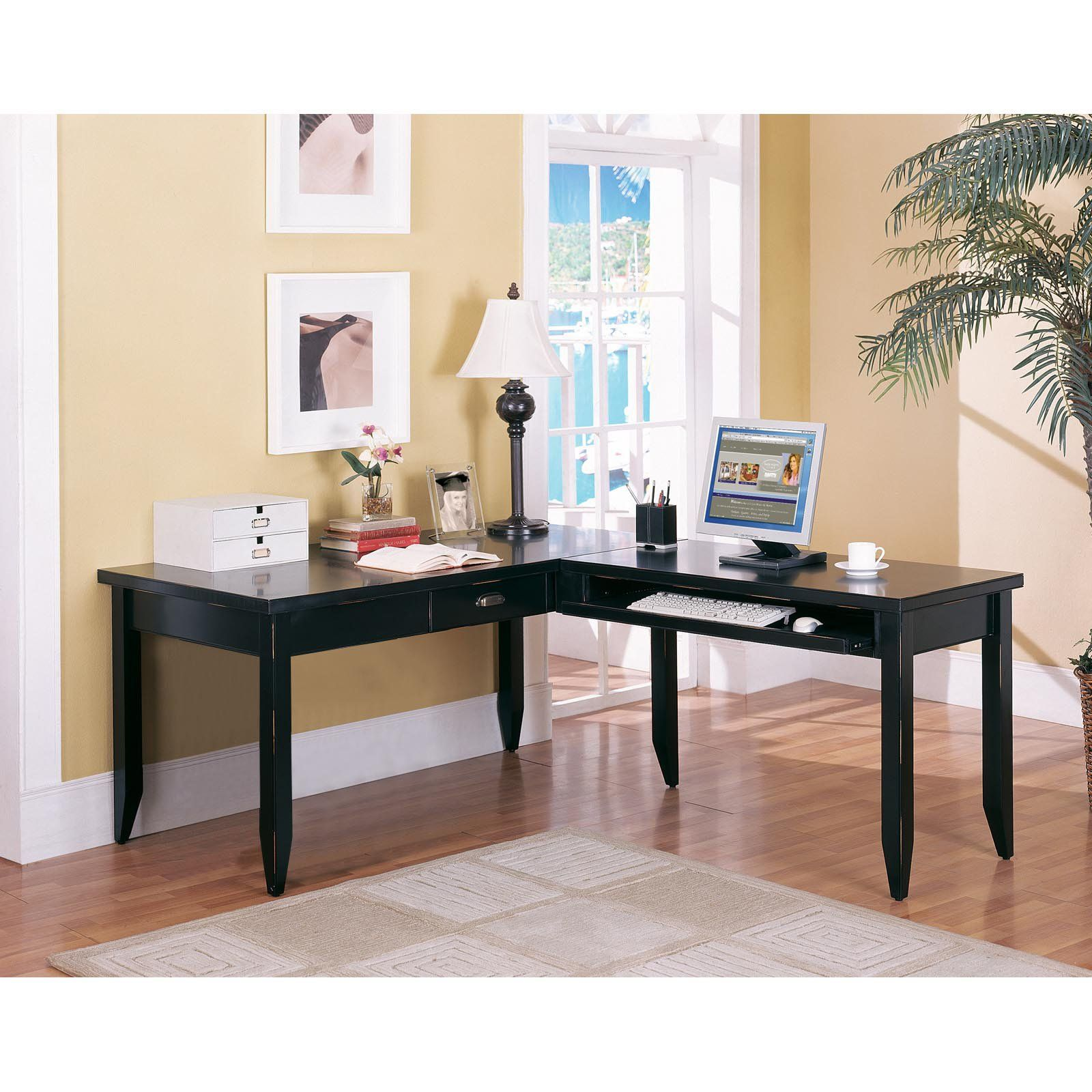 Kathy Ireland Home By Martin Tribeca Loft Black L Shaped Writing Desk Www Hayneedle Com Home Office Design Diy Home Office Furniture Best Home Office Desk