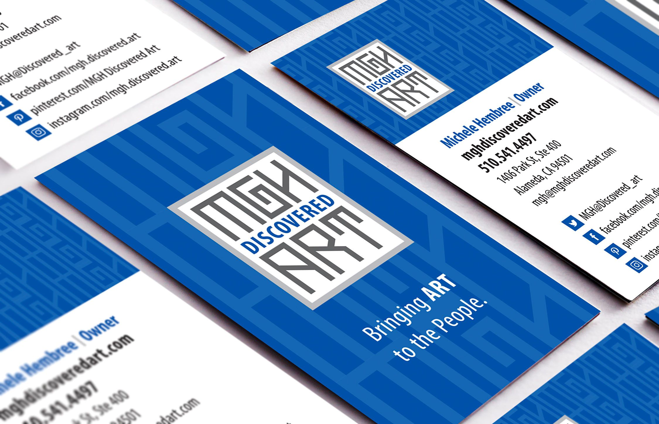Brand identity and business cards created for MGH Discovered Art ...