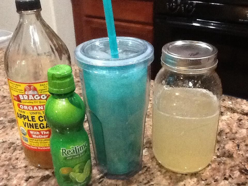 Mountain Dew GGMS Fill quart size jar with half water and half club soda, then add 1 packet of stevia or 1/4 tsp Truvia, 4 tbsp of ACV, and 3 tbsp of lime juice! Orange flavored stevia might help the flavor too.