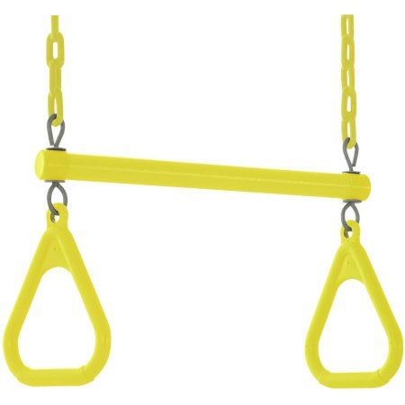 Swingan Trapeze Swing Bar Vinyl Coated Chain Fully Assembled, Yellow