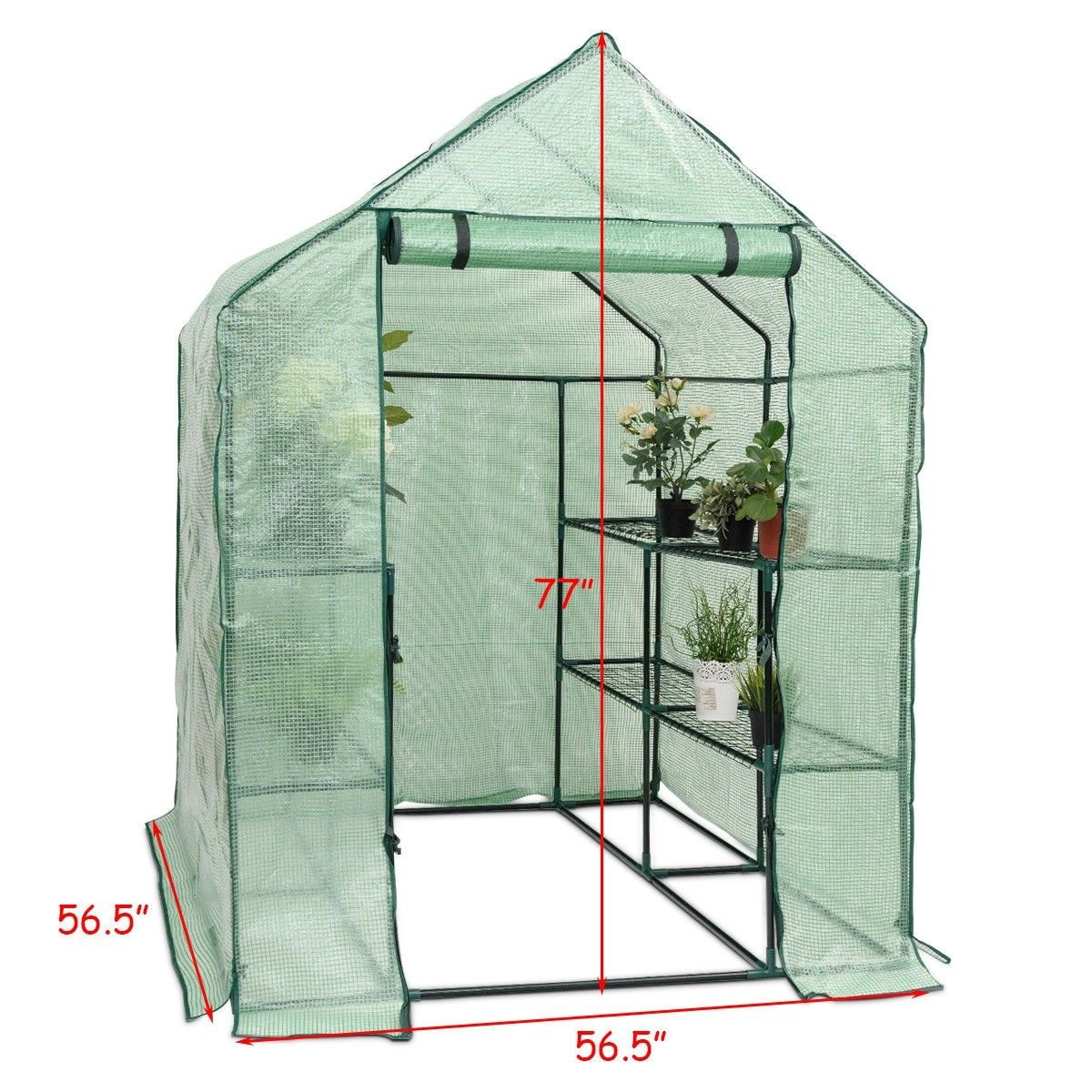 8 Shelves Portable Greenhouse Color Green Dimensions 57 X 57 X 77 L X W X H Cover Material 140g Pe Mes Portable Greenhouse Walk In Greenhouse Greenhouse